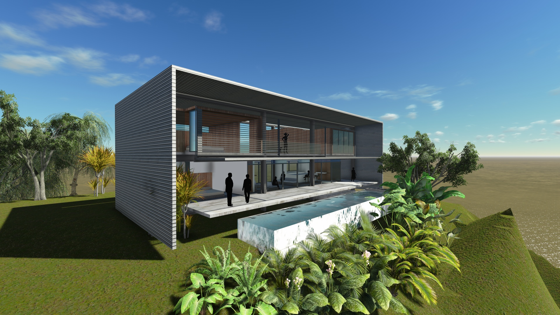 Finding the perfect shade angle for a tropical modern for Horizontal house plans